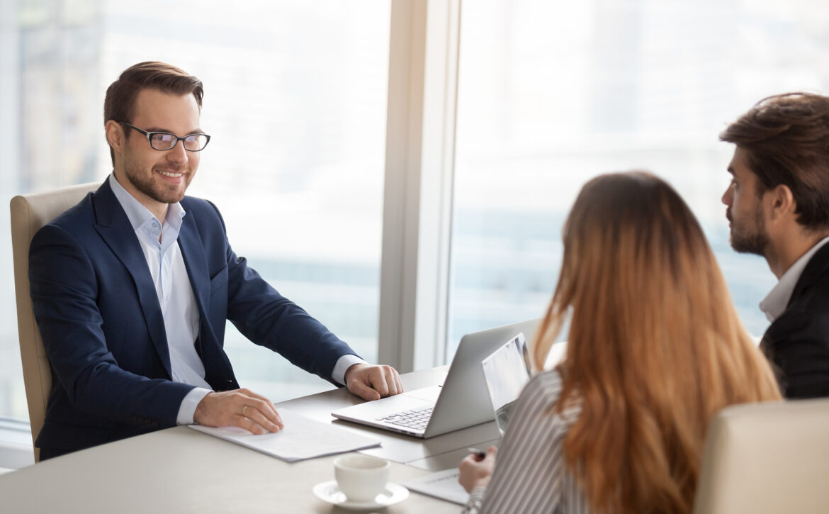Smiling Adviser Manager Or Negotiator Consulting Business People